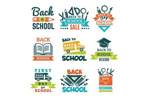 School labels set. Back to school