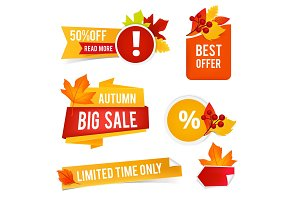 Autumn offer sales. Vector badges