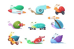 Snails cartoon characters. Slow sea