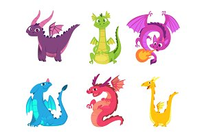 Cute dragons. Fairytale amphibians