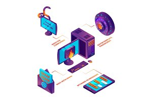 Cyber security 3d. Web transfer