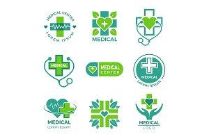 Medical logotypes. Medicine pharmacy