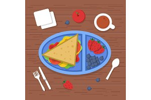 Lunch box on table. Place to eat