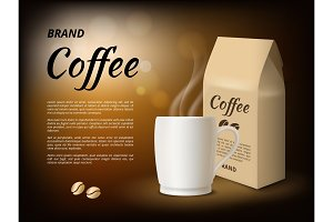 Coffee advertising. Poster design