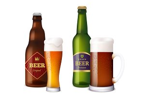 Beer glasses bottles. Cup and