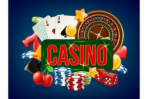Casino poster. Advertising of poker