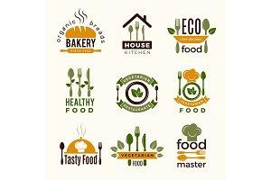 Food logos. Healthy kitchen