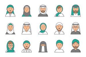 Islam linear avatars. Arabian muslim