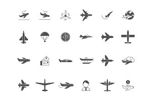 Airplane black icons. Jet aircraft