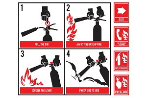 Fire fighting technical illustration