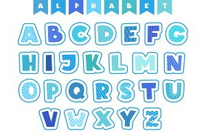 Cartoon alphabet. Letters fonts