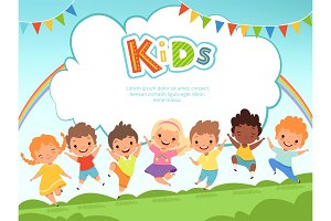 Children jumping background. Happy