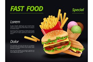 Fast food poster. Burger ingredients