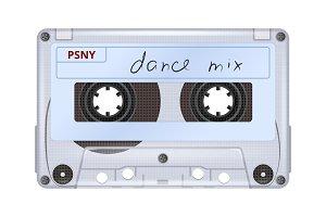 Audio cassette. Retro mixtape music