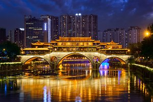 Anshun bridge at night, Chengdu