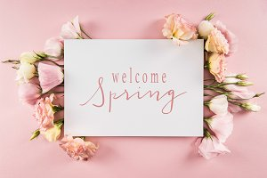 Top view of WELCOME SPRING card and
