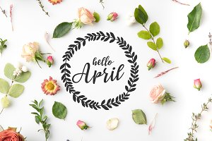 HELLO APRIL lettering surrounded wit