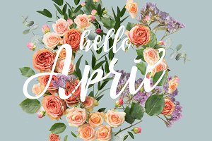 creative collage with floral wreath