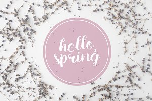 top view of HELLO SPRING lettering w