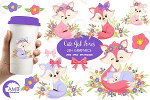 Girl Foxes Clipart AMB-1377