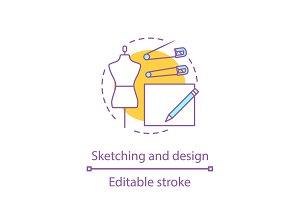 Clothes design sketches concept icon