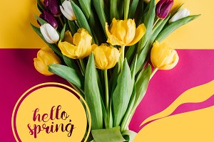 top view of spring tulips with HELLO