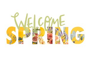WELCOME SPRING sign cut out of flora