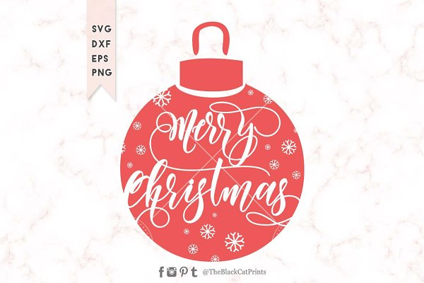 Merry Christmas Ornament Svg Dxf Eps Pre Designed Photoshop Graphics Creative Market