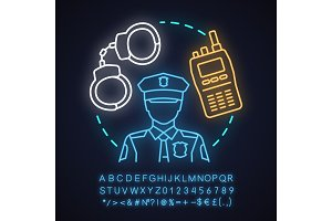Police force neon light concept icon