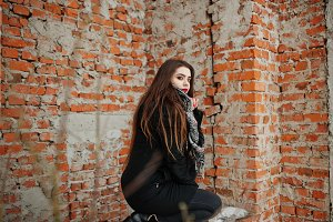Brunette stylish casual girl in scar