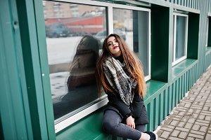 Brunette stylish casual girl in scar