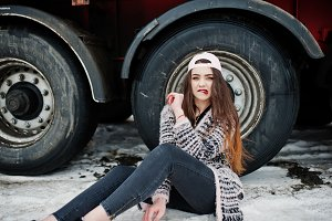 Brunette stylish casual girl in cap