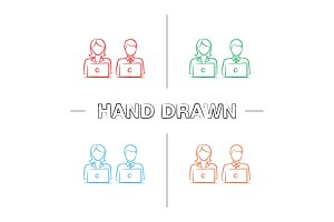 Coworking hand drawn icons set