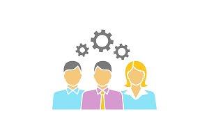 Teamwork glyph color icon