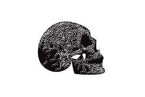Fire skull icon side view, black and