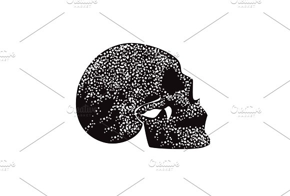 Fire Skull Icon Side View Black And