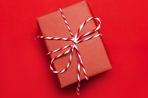 Red Gift box on red background
