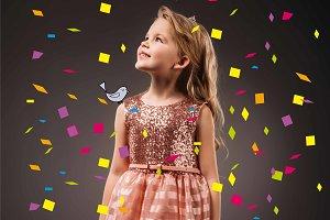 adorable kid in pink princess dress,