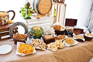 Wedding reception catering table wit