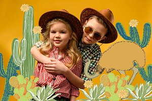little stylish cowboy and cowgirl in