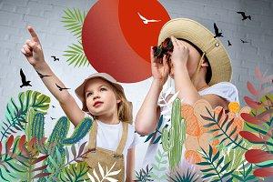 children in safari costumes and hats