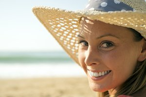 happy woman portrait at beach