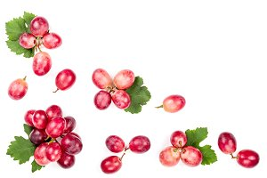 pink grapes isolated on the white
