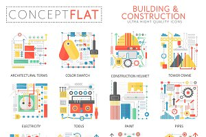 Building construction concept icons