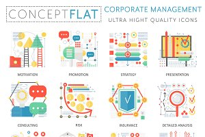 Corporate managment concept icons.