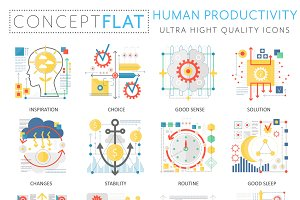 Human productivity concept icons