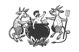 Devils boil man in cauldron vector