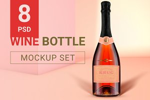 Wine Bottle Mockup Set + Free Demo