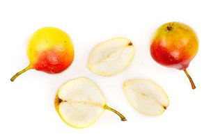 ripe red yellow pear fruits isolated