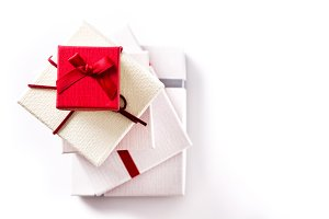 Red and white gift boxes